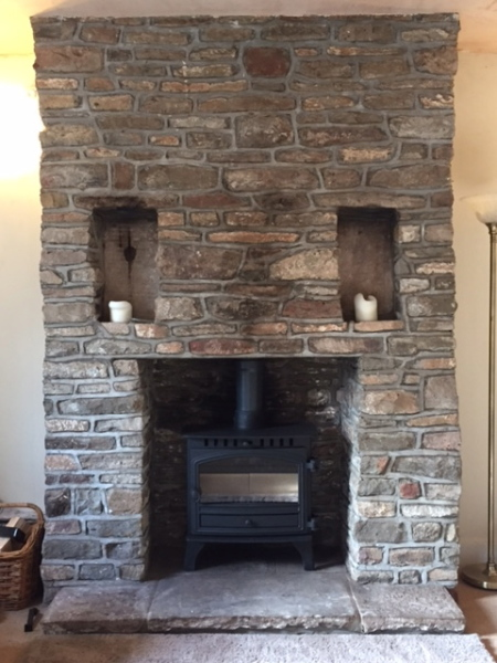 Hunter stove, stone fireplace, stove installation, multifuel stove, bristol stove installer