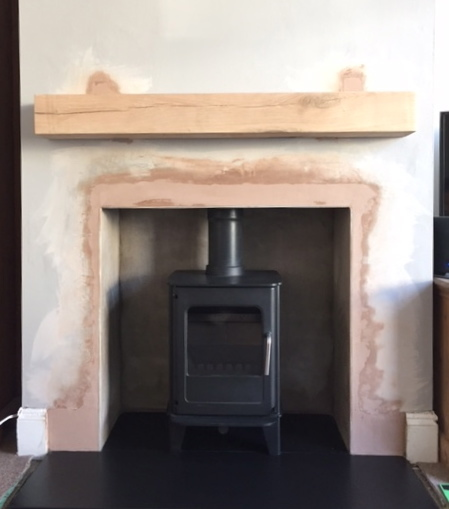 Morso stove, multifuel stove, solid oak beam, fireplace, stove installation