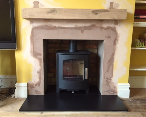 Stove, fireplace, solid oak beam, bristol stove installaer