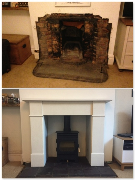 Fireplace, limestone surround, bristol stove installers,