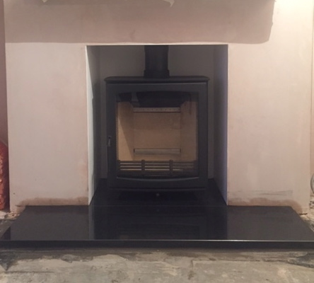 Wood burning stove, oak beam, bristolstoveinstaller