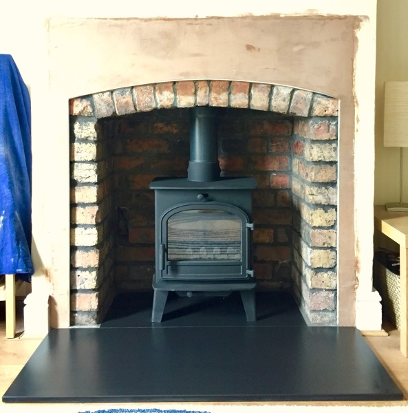 Multifuel stove, brick fireplace opening, hearth, Bristol stove installer