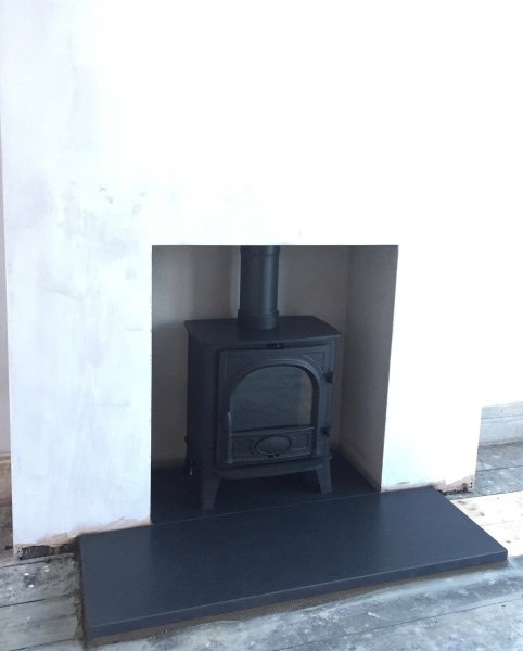 Log burner, wood burning stove, fireplace, hearth, stove installation