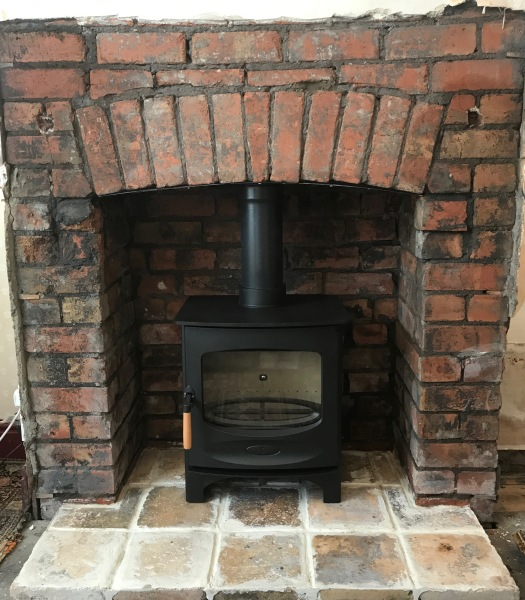Wood burning stove installation