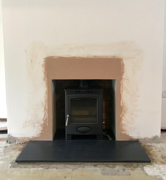 multifuel stove, honed granite hearth, wood stove installation