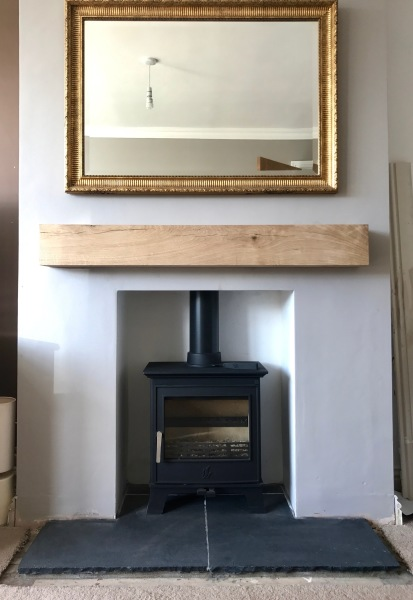 Oak beam fireplace, stone hearth, multi fuel stove, stove installation