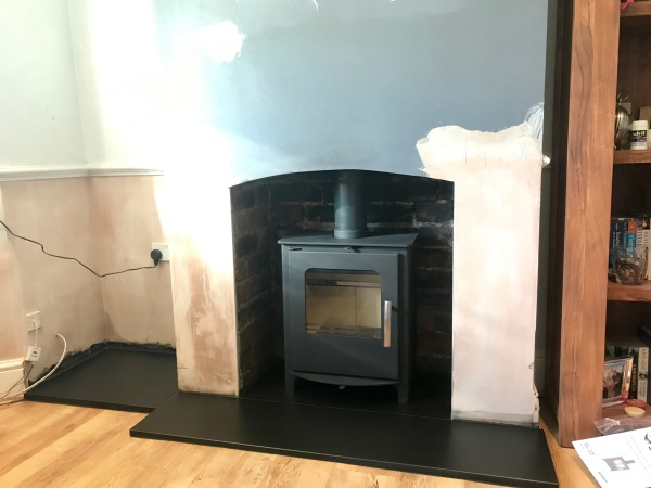 Multifuel stove, wood burner installation Bristol, slate hearth