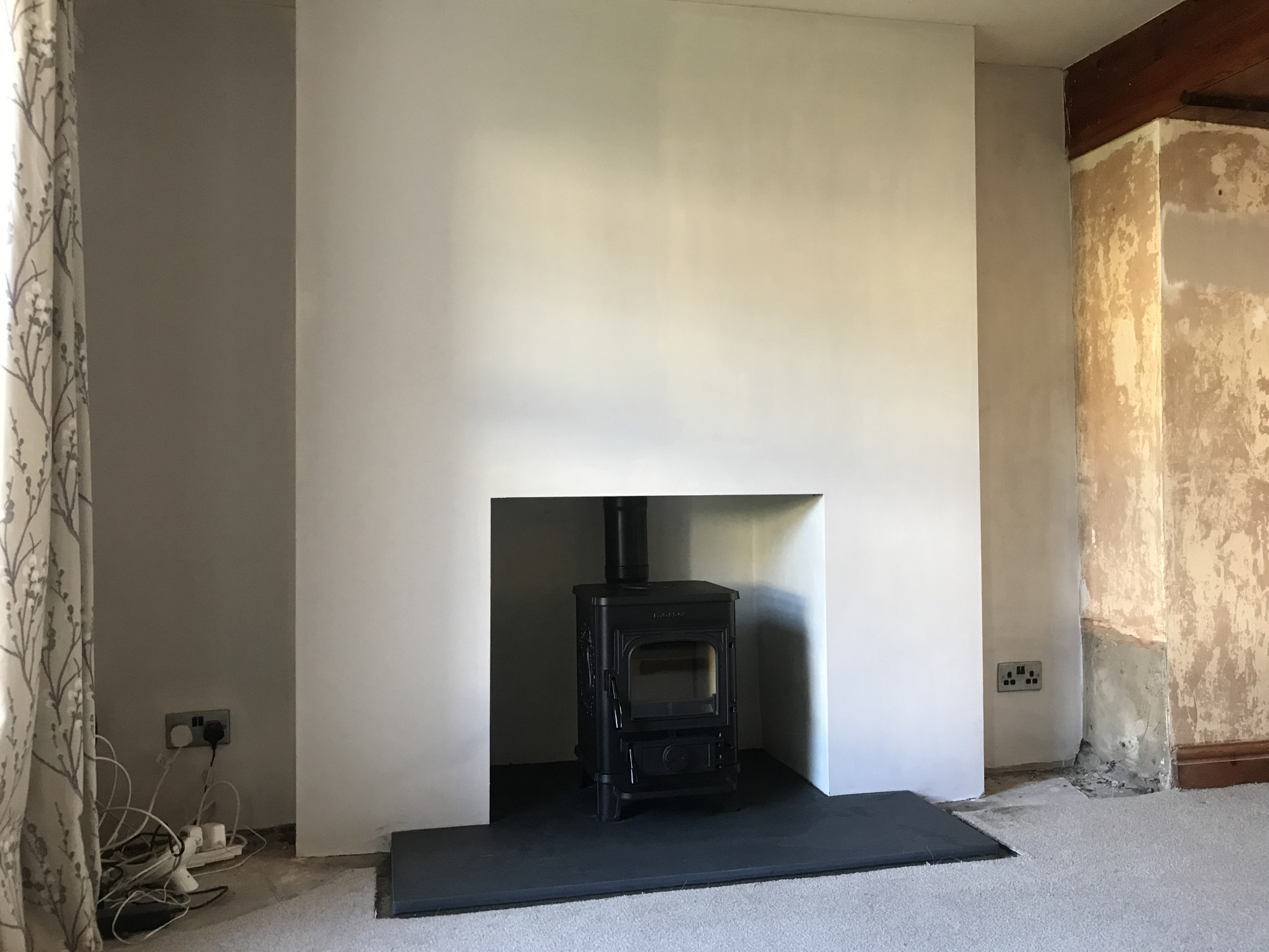 multifuel stove installed, stove installation, fireplace