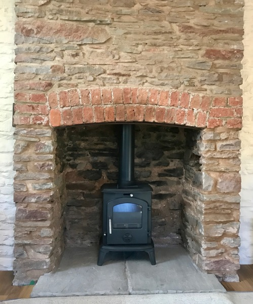 large fireplace, multifuel stove installation, cottage fireplace
