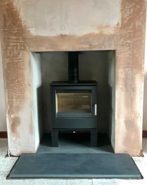 Multifuel stove installation, stove installation bristol, slate hearth