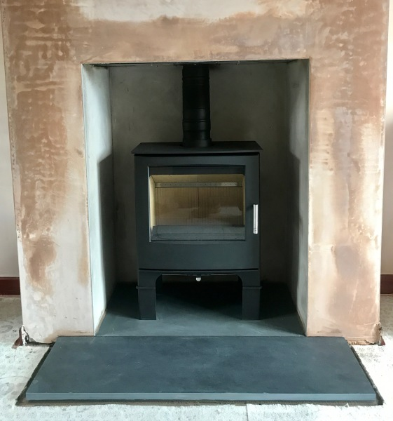 multifuel stove, slate hearth, large stove installation