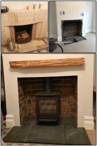 Multifuel stove, limestone hearth, fireplace installation, wood stove installation Bristol