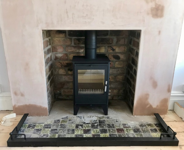 original tiled hearth, multifuel stove installation