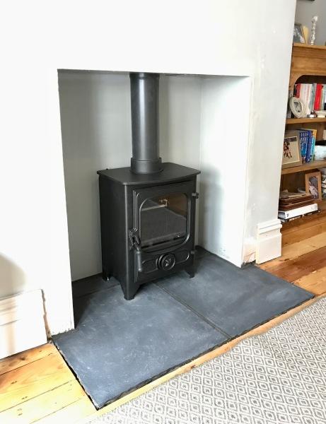 Limestone hearth, wood burner installation bristol, wood burning stove
