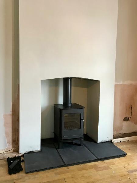 stone hearth, multifuel stove installation, log burner