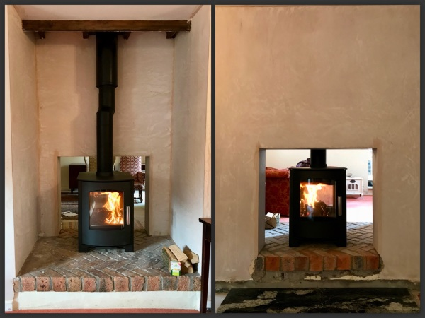 Double sided stove, wood burner installation bristol.