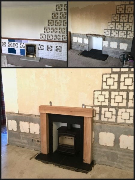 wood fireplace surround, bristol stove installer, multifuel stove installation