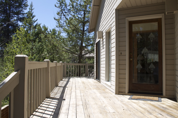 Deck to back overlooking golf course