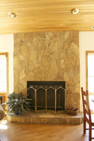 Main area gas fireplace