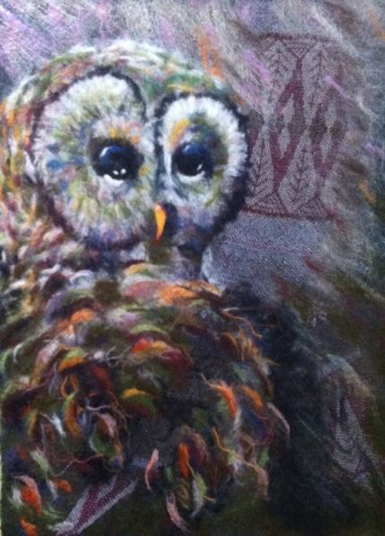 "Felted Wool Panel ""Owl"""