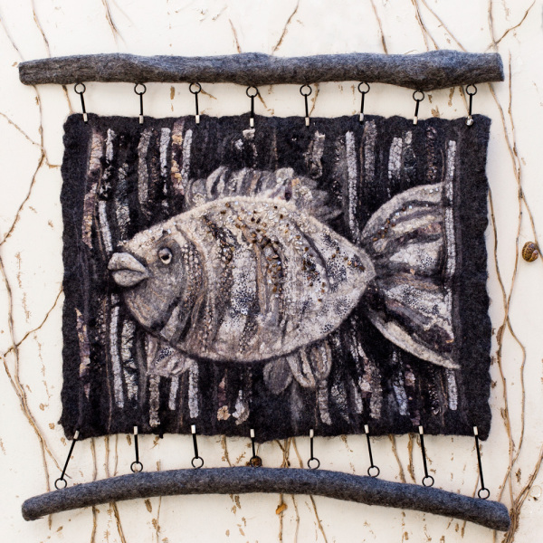 "Felted Wool Panel ""Fish"""