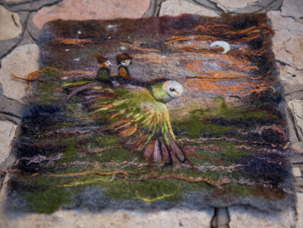 "Felted Wool Panel ""Fairy tale"""
