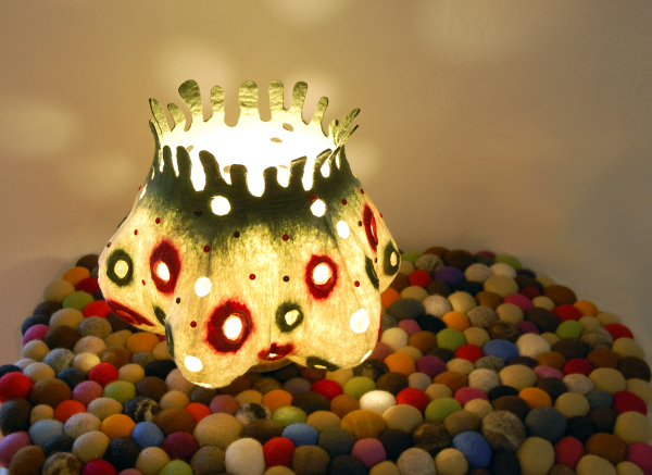"Felted art lamp ""Funny Dots"