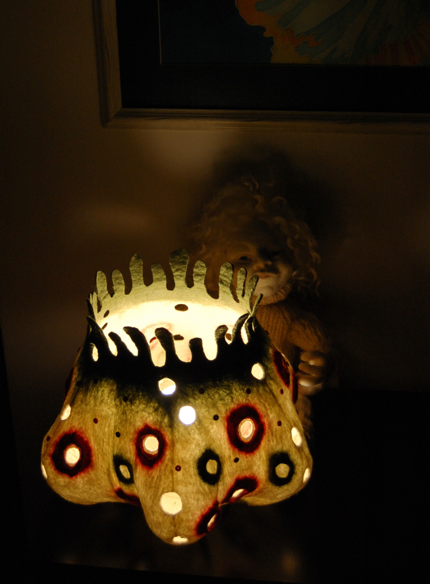 "Felted art lamp ""Funny Dots"""