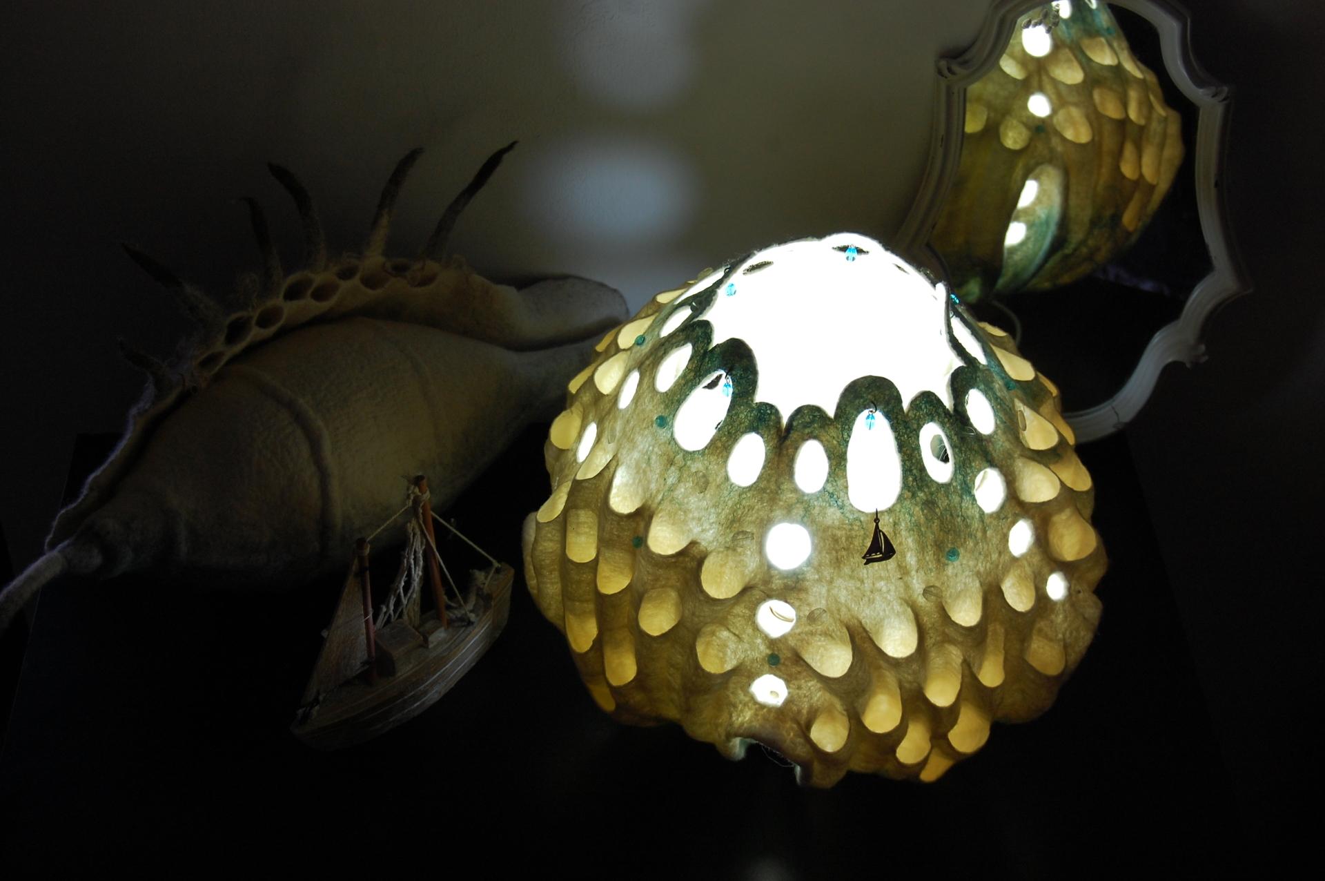 "Felted art lamp ""Sea Story"""