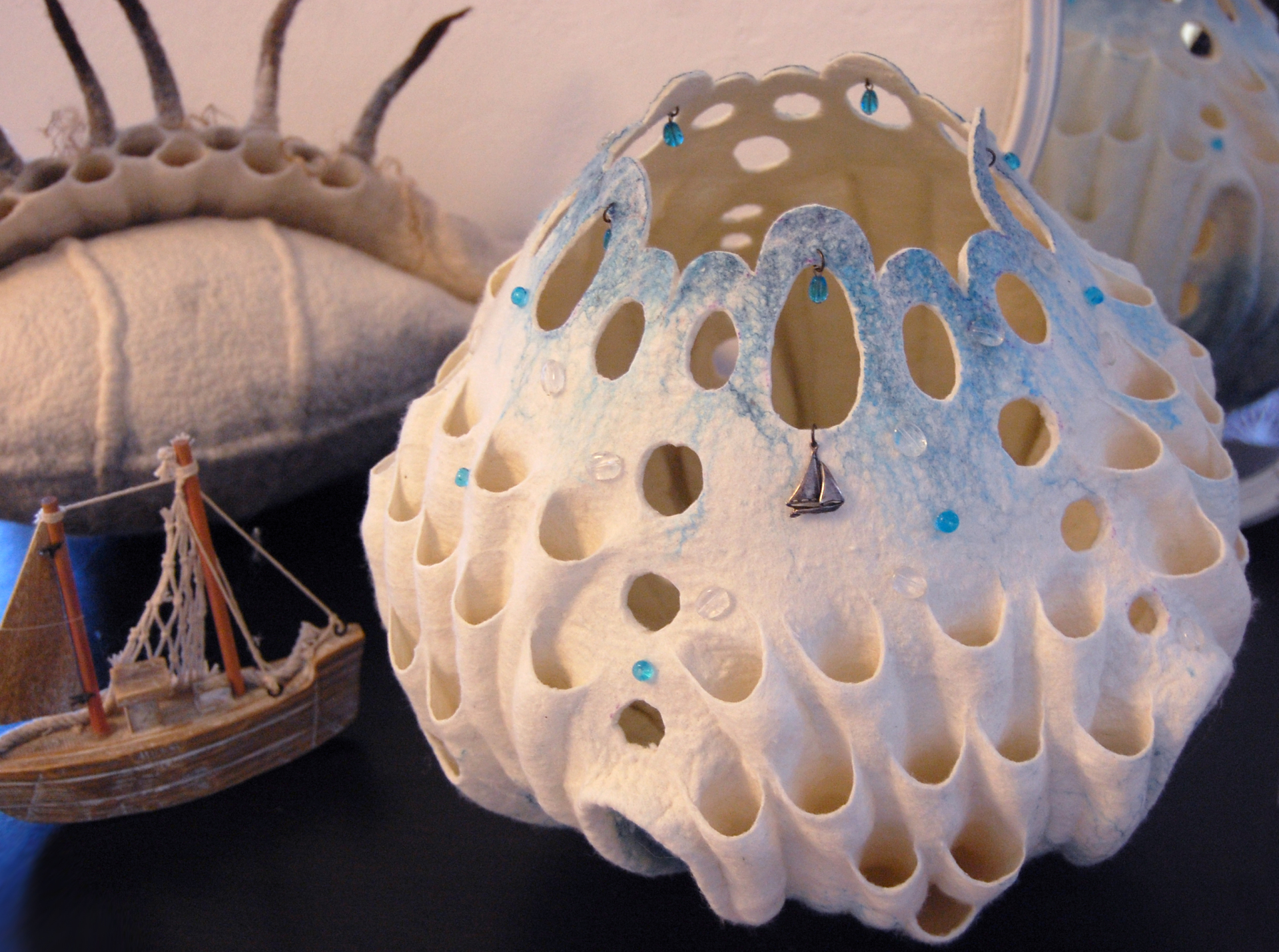 "Felted art lamp ""Sea Story"""