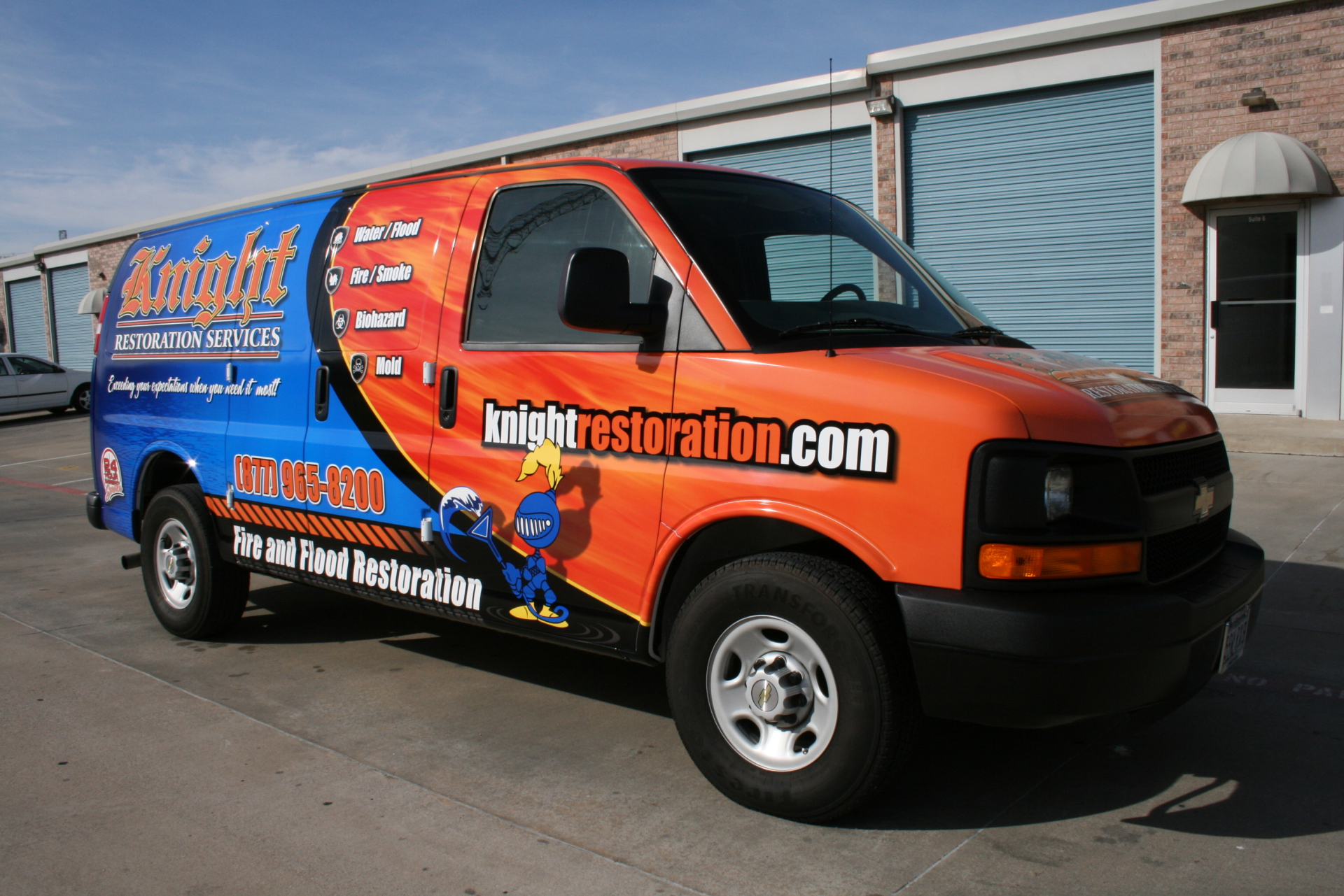 Cleaning and restoration services van wrap advertising
