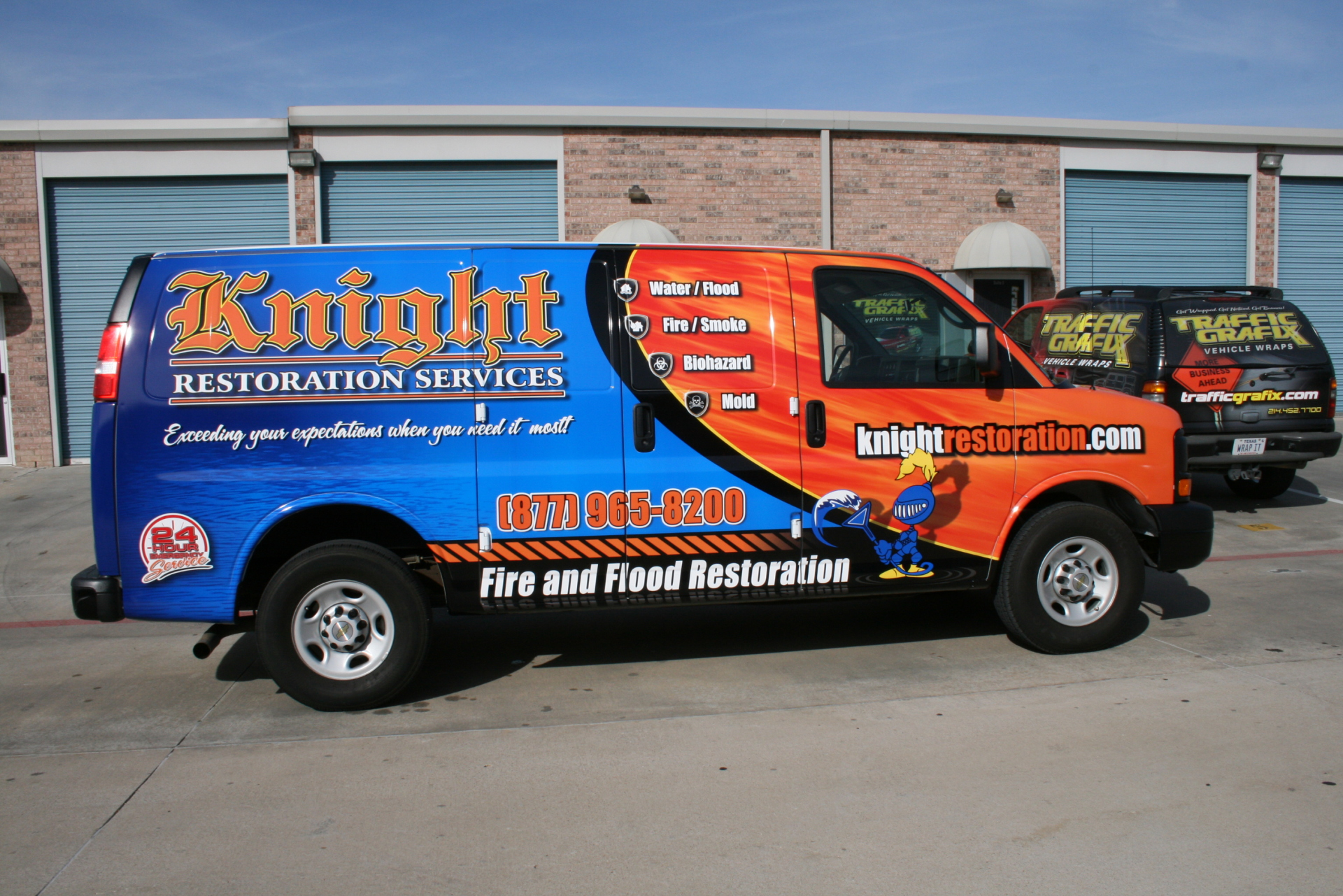 Cargo van wrap Knight Restoration