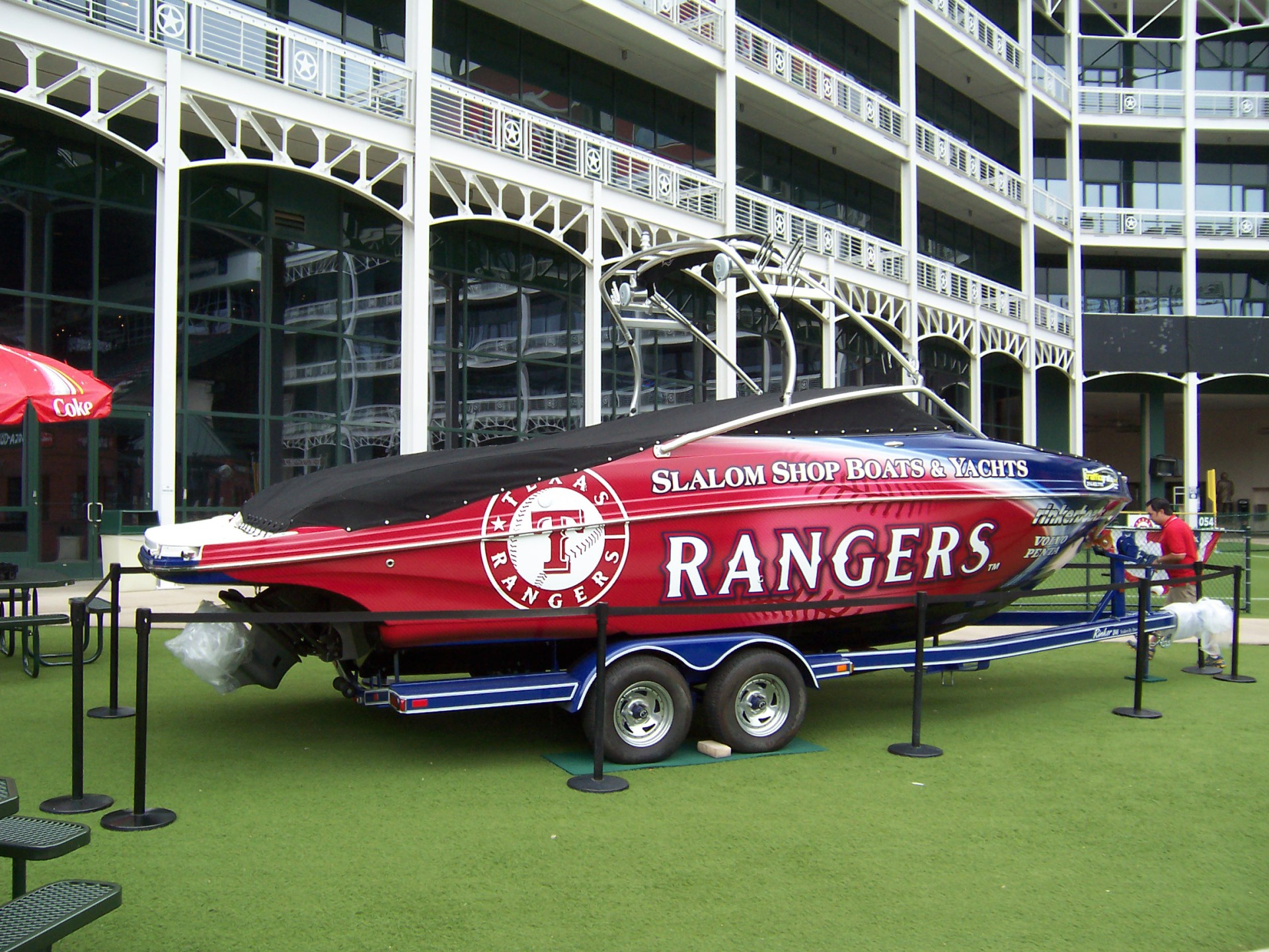 Texas Rangers Boat wrap Dallas Ft Worth