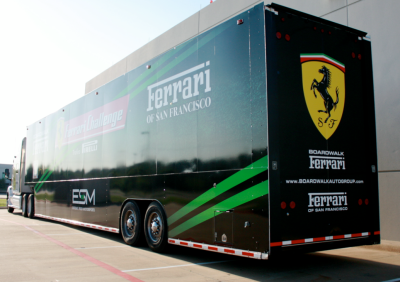 Boardwalk Ferrari Trailer Wrap Dallas Texas Back
