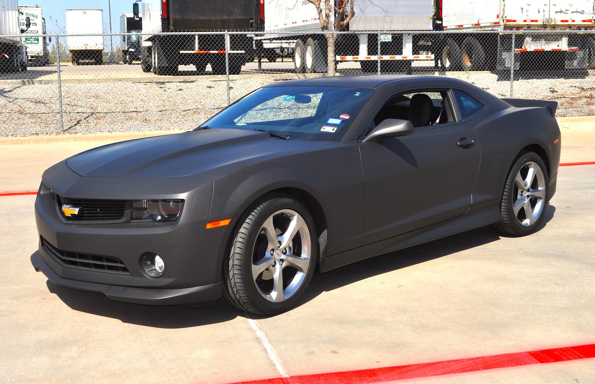 Matte Black Camaro, matte black car wrap, color change car wrap, matte wrap Dallas, matte wrap Ft Worth, Matte wrap denton, matte wrap lewisville, matte wrap irving, matte wrap arlington