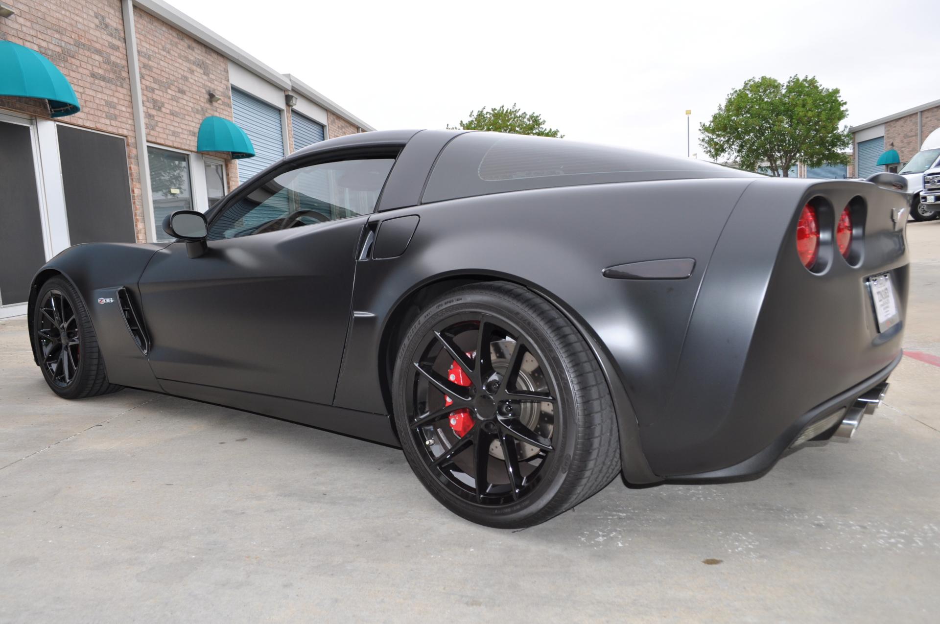 Satin Black Corvette wrap, satin black vehicle wrap, vehicle wraps dallas texas, vehicle wraps plano, vette wraps,