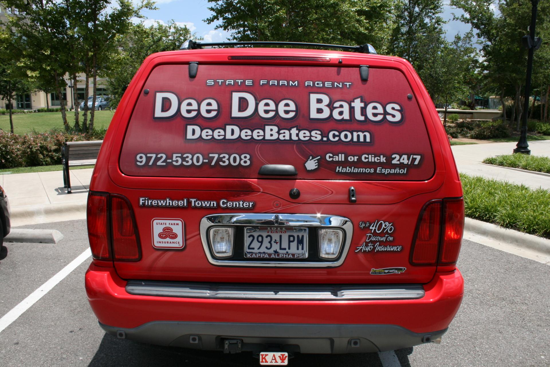 State Farm Agent Dee Dee Bates, State Farm Vehicle wraps, vehicle wrap dallas tx