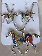 UNUSUAL HORSE NECKLACE AND EARRING SET