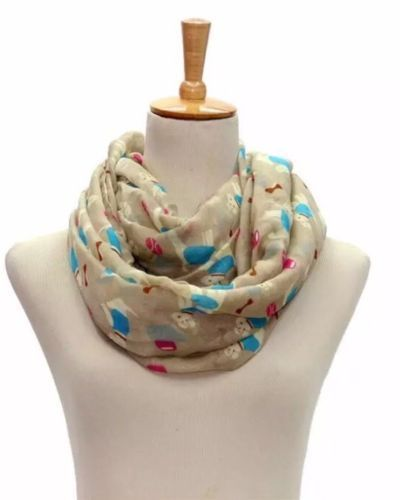 LADIES DOG DESIGN SNOOD / SCARF CREAM