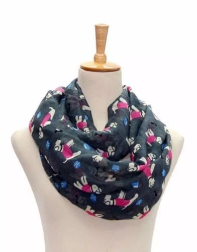LADIES DOG DESIGN SNOOD / SCARF GREY/KHAKI
