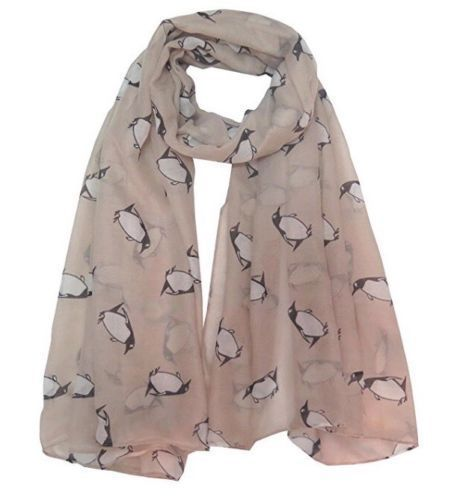 LADIES DESIGN SCARF CREAM PENQUIN DESIGN