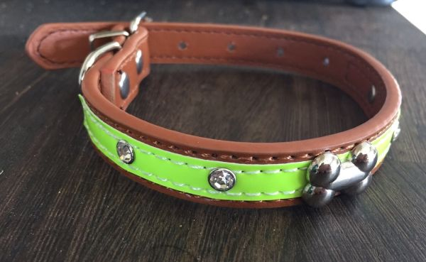 Good quality faux leather Hi Viz relective dog collar LARGE