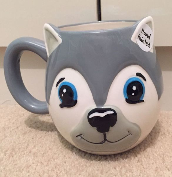 Cute  & unusual  dog ceramic mug - HAND PAINTED