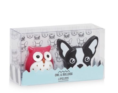 CUTE Owl and French Bull Dog Lipgloss Set