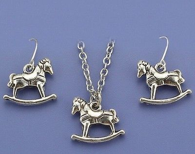 Child's / small chain Pendant And Earring set Rocking Horse