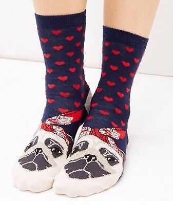 CUTE PUG DESIGN LADIES SOCKS