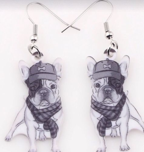 QUIRKY CUTE PUG MONOCHROME DROP EARRINGS