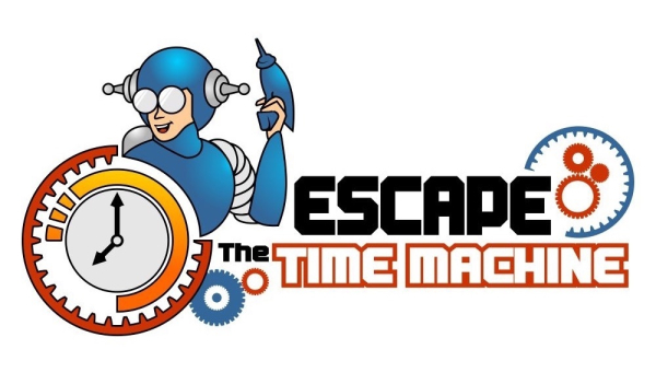 Escape the time machine escape room game logo featuring spaceman and clock with gears