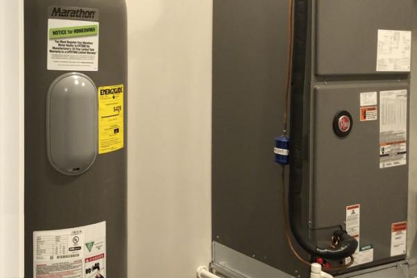 RHEEM 50 GALLON HOT WATER TANK AND ENERGY-EFFICIENT HEAT PUMP