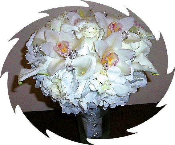 White hydrangeas, cymbidium orchids, and bling.